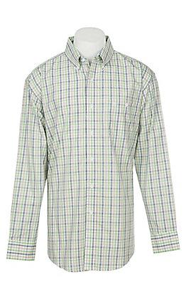 George Strait by Wrangler Men's Classic Green Plaid Long Sleeve Western Shirt