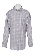 George Strait by Wrangler Men's Grey Plaid Long Sleeve Western Shirt