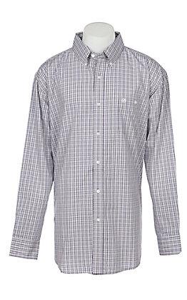 George Strait by Wrangler Men's Grey Plaid Long Sleeve Western Shirt