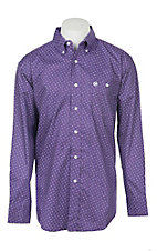 George Strait by Wrangler Men's Purple Geo Long Sleeve Western Shirt