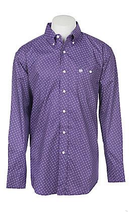 George Strait by Wrangler Men's Purple Geo Long Sleeve Western Shirt