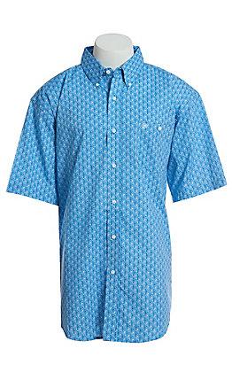 Wrangler Men's Blue Paisley Short Sleeve Easy Care Western Shirt