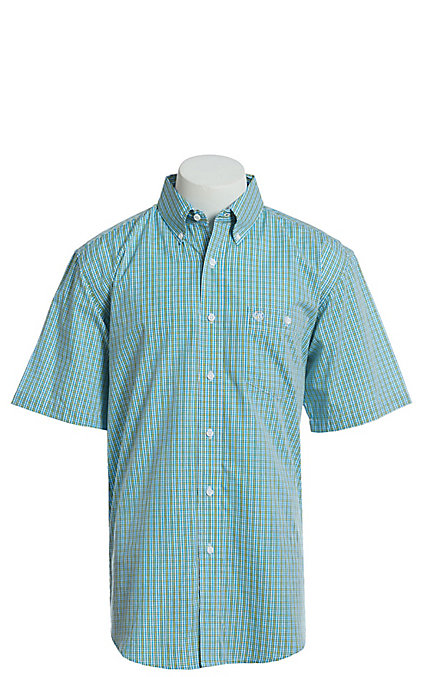 dbef8918add Wrangler Men's Blue And Yellow Plaid Short Sleeve Easy Care Western Shirt