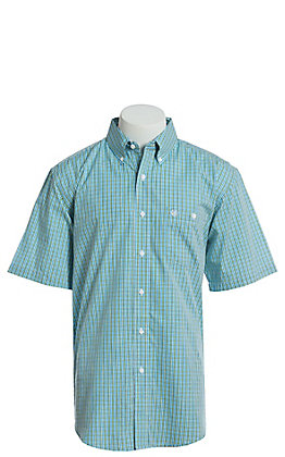 Wrangler Men's Blue And Yellow Plaid Short Sleeve Easy Care Western Shirt