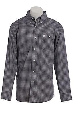 Wrangler Classic Men's Blue Geo Print Long Sleeve Western Shirt