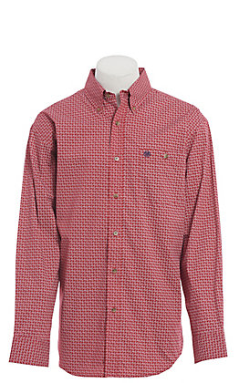 Wrangler Men's Red Paisley Print Long Sleeve Western Shirt