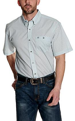 Wrangler Classics Men's Light Blue Geo Flower Print Short Sleeve Western Shirt