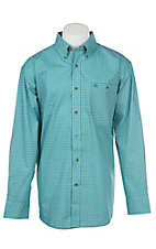 Wrangler Men's Cavender's Exclusive Teal Green Geo Print Long Sleeve Western Shirt