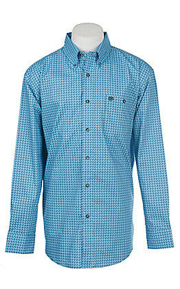 Wrangler Men's Classic Blue Geo Long Sleeve Western Shirt