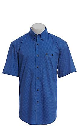 Wrangler Men's Blue Geo Print Short Sleeve Western Shirt