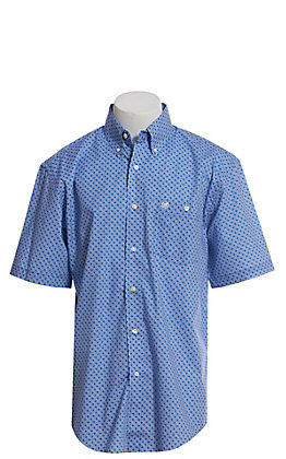 Wrangler Men's Light Blue Geo Print Short Sleeve Western Shirt
