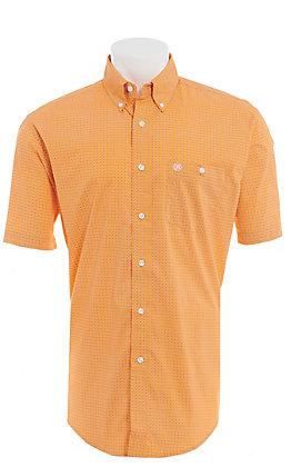 Wrangler Men's Orange Geo Print Short Sleeve Western Shirt