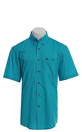 Wrangler Men's Turquoise Geo Print Short Sleeve Western Shirt