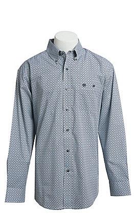 Wrangler Men's Black Geo Print Long Sleeve Western Shirt