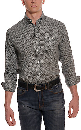 Wrangler Men's Black and White Geo Print Long Sleeve Western Shirt - Cavender's Exclusive