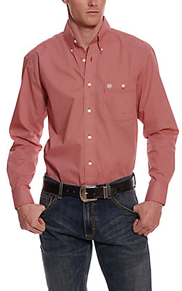Wrangler Men's Red and White Diamond Print Long Sleeve Western Shirt - Cavender's Exclusive