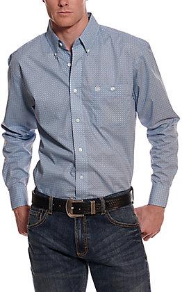 Wrangler Men's Blue with Maroon Geo Print Long Sleeve Western Shirt - Cavender's Exclusive