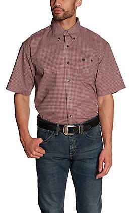 Wrangler Men's Red and Black Geo Print Short Sleeve Western Shirt - Cavender's Exclusive