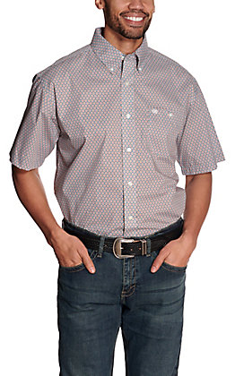 Wrangler Men's Blue & Orange Geo Print Short Sleeve Western Shirt - Cavender's Exclusive