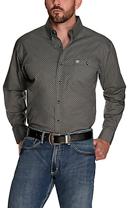Wrangler Men's Black with White and Grey Geo Print Easy Care Long Sleeve Western Shirt