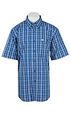 Wrangler Men's Classic Blue, White and Black Plaid S/S Western Shirt