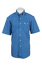 Wrangler Men's Classic Blue and White Print S/S Western Shirt