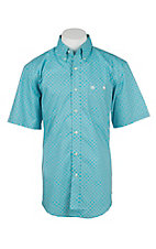 Wrangler Men's Turquoise and Grey Geometric Print S/S Western Shirt