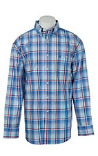 George Strait by Wrangler L/S Mens Plaid Shirt  MGS17BMX- Big & Talls