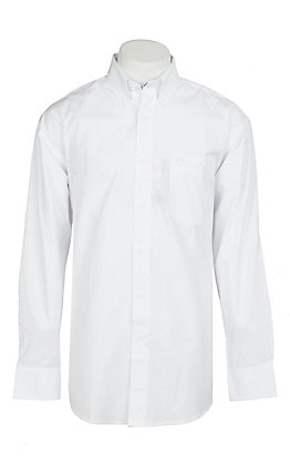George Strait by Wrangler Men's Solid White Long Sleeve Western Shirt