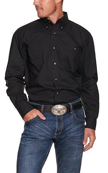 Wrangler George Strait Men's Solid Black L/S Western Shirt ...
