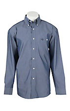 George Strait by Wrangler L/S Men's Navy Chambray Western Shirt - Big & Tall