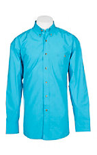 Wrangler George Straight Men's Solid Turquoise L/S Western Shirt