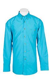 2492d9ed5a1 Wrangler George Strait Men s Solid Turquoise L S Western Shirt ...