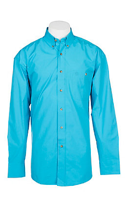 George Strait by Wrangler Men's Solid Turquoise Long Sleeve Western Shirt