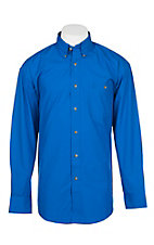 Wrangler George Straight Men's Solid Royal Blue L/S Western Shirt