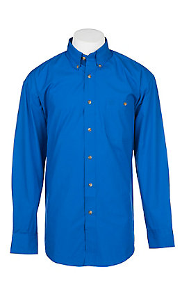 Wrangler George Strait Men's Solid Royal Blue Long Sleeve Western Shirt