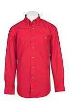Wrangler George Straight Men's Solid Red L/S Western Shirt