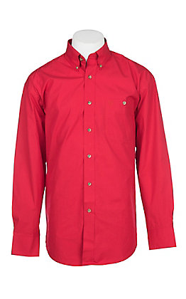 George Strait by Wrangler Men's Solid Red Long Sleeve Western Shirt