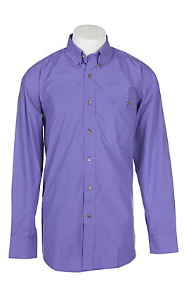 George Strait by Wrangler Men's Solid Purple Long Sleeve Western Shirt