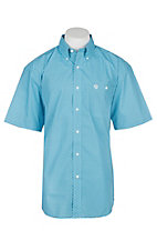 George Strait by Wrangler Men's Turquoise and Black Cavender's Exclusive S/S Western Shirt - Big & Tall