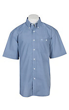 George Strait by Wrangler Men's Blue Chambray Mini Print Cavender's Exclusive S/S Western Shirt - Big & Tall