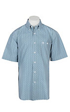 George Strait by Wrangler Men's White, Turquoise and Black Mini Print Cavender's Exclusive S/S Western Shirt