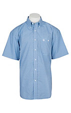 George Strait by Wrangler Men's Blue Square Print Cavender's Exclusive S/S Western Shirt - Big & Tall