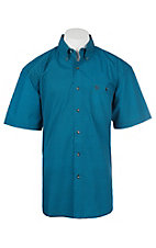 George Strait by Wrangler Turquoise and Black Cavender's Exclusive S/S Western Shirt