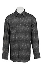 George Strait Wrangler Troubador Collection Black Jacquard Print L/S Western Shirt