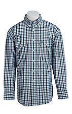 George Straight Cowboy Cut Collection by Wrangler Men's Blue and White Plaid MGSB043X- Big & Tall Sizes