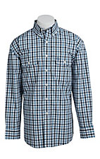 George Straight Cowboy Cut Collection by Wrangler Men's Blue and White Plaid