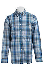George Strait by Wrangler L/S Mens Plaid Shirt MGSB045X- Big & Tall Sizes