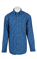 George Strait by Wrangler L/S Men's Blue Paisley Print Western Shirt - Big & Tall
