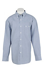 George Strait by Wrangler L/S Men's Blue and White Striped Western Shirt